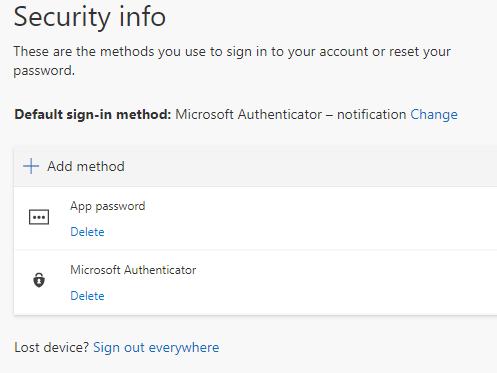 Screenshot showing the security info page, which will display with the method(s) you can use to sign in to your account