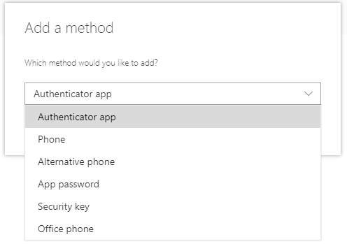 Screenshot showing the options available to add as a further multi-factor authentication method in the drop-down menu