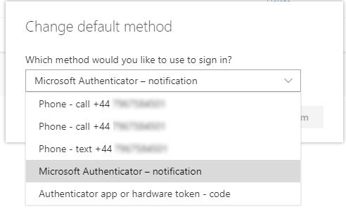 "Screenshot showing how to choose ""Microsoft Authenticator - notification"""