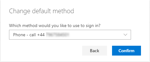 Screenshot showing the option to select your preferred default sign-in method