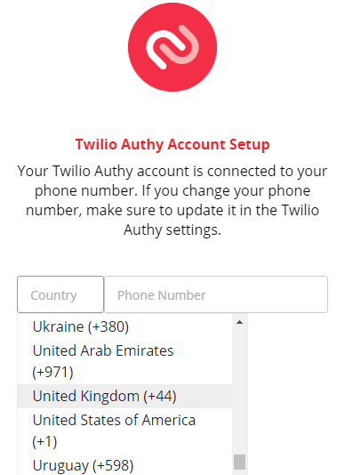 Select your country in the Twilio Authy Account Setup