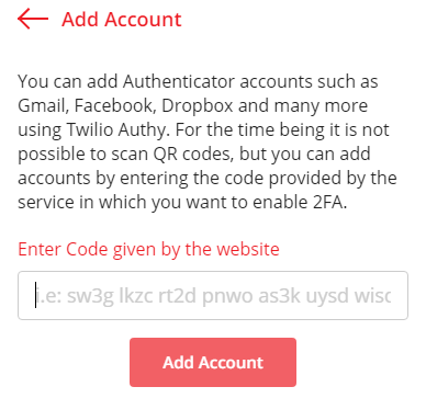 Enter the Secret key code into the Authy App Account page