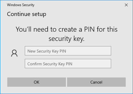 Create a PIN for this security key