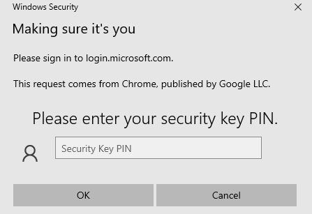 Please enter your ssecurity key PIN