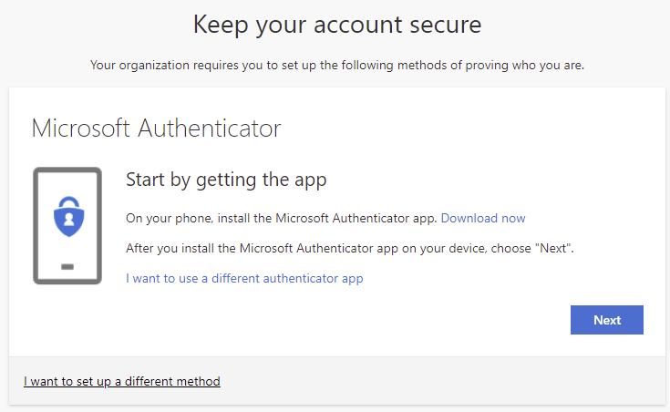 Get the MS authenticator app
