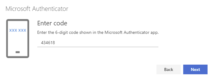 Enter code and click next