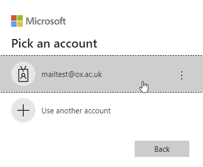 Screenshot of MySignins prompting you to select your account