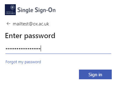 Screenshot of the Enter password box