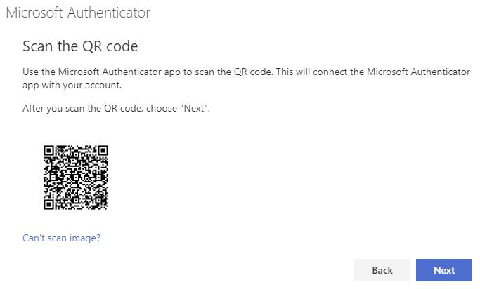 Screenshot of the QR code screen