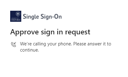 Screenshot of the Approve sign request screen saying that the system is calling your phone