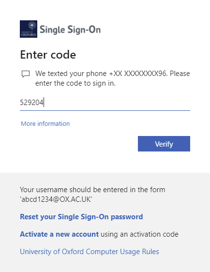 Enter the verification code received in the text message