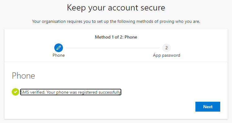 Screenshot showing that text message verification has been successfully set up
