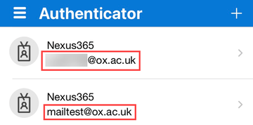 Authenticator app showing a primary and secondary account